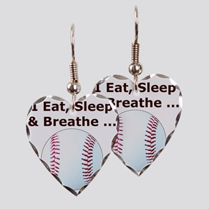 Baseball, Eat, Sleep  Breath B Earring Heart Charm