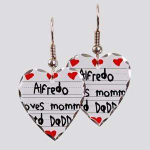 Alfredo Loves Mommy and Daddy Earring Heart Charm