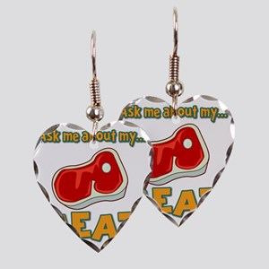 Funny Ask Me About My Meat Ste Earring Heart Charm
