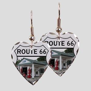Route 66 - Amblers Texaco Gas  Earring Heart Charm