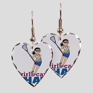 Girl Lacrosse Player in Blue Earring Heart Charm