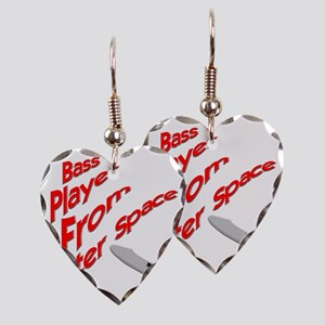 Bass Player From Outer Space Earring Heart Charm