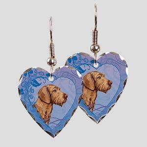 Wirehaired Vizsla Earring Heart Charm