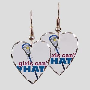 Lacrosse Stick Blue Earring Heart Charm