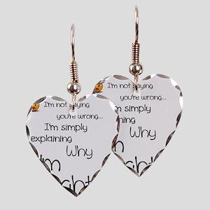 I'm right Earring Heart Charm