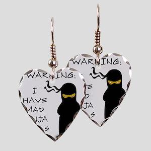 ninja warning Earring Heart Charm