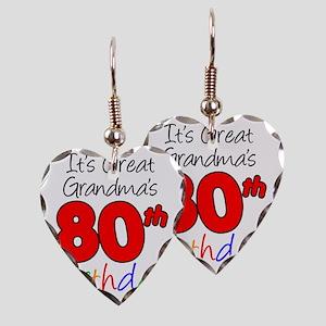 Great Grandmas 80th Birthday Earring Heart Charm