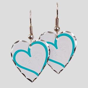 Baby Feet Heart Blue Earring Heart Charm
