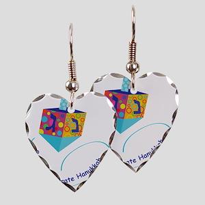 Hanukkah Dreidel Earring Heart Charm