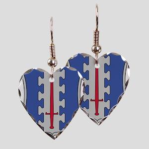 187th Infantry Regt DUI Earring Heart Charm