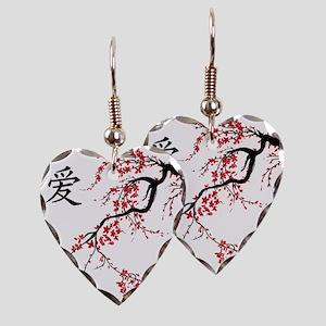 Cherry Blossom Earring Heart Charm