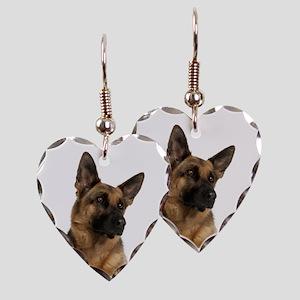 German Shepherd Mom Earring Heart Charm