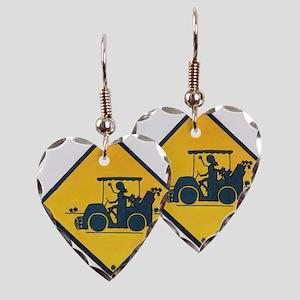 Ladies Golf Earring Heart Charm