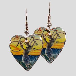 Vintage Paris Fairy Bicycle Earring Heart Charm