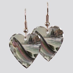 Vintage Rainbow Trout Earring Heart Charm