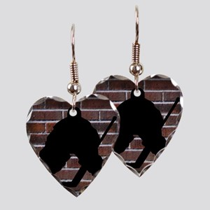Hockie Goalie Brick Wall Earring Heart Charm