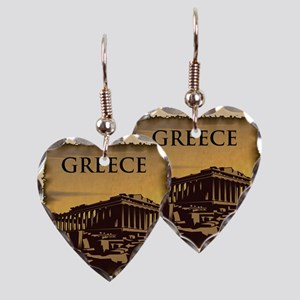 Acropolis Of Athens Earring Heart Charm
