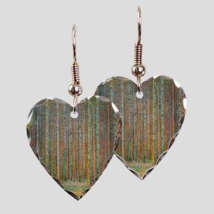 Gustav Klimt Pine Forest Earring Heart Charm