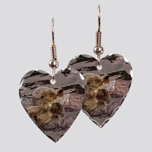 Sea Otters Holding Hands Earring Heart Charm