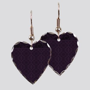 Royal Purple Damask Earring Heart Charm