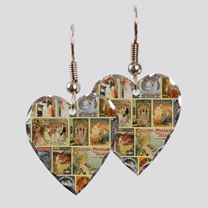 Art Nouveau Advertisements Col Earring Heart Charm