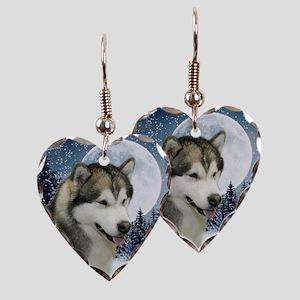 WinterMalamuteTile Earring Heart Charm