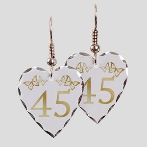 45th Birthday Anniversary Earring Heart Charm