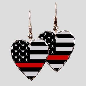 Firefighter: Black Flag & Red Earring Heart Charm