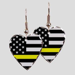U.S. Flag: Black Flag & The Th Earring Heart Charm
