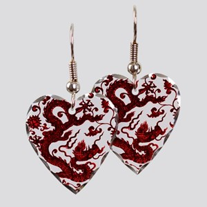 Chinese Red Dragon Earring Heart Charm