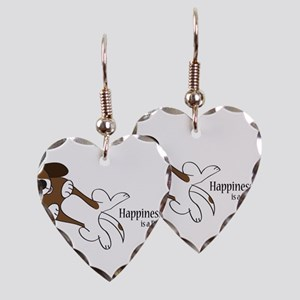 Happiness is a Basset Hound Earring Heart Charm