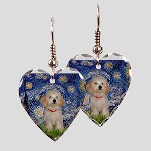 Starry Night Havanese Pup Earring Heart Charm
