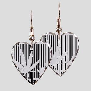 Cannabis noir et blanc Earring Heart Charm