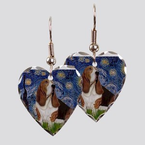 Starry Night Basset Earring Heart Charm