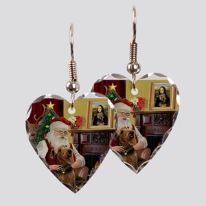 Santa and his Airedale Earring Heart Charm