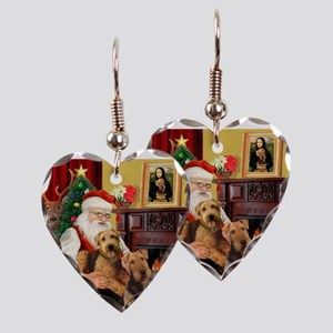 Santa's Two Airedales Earring Heart Charm
