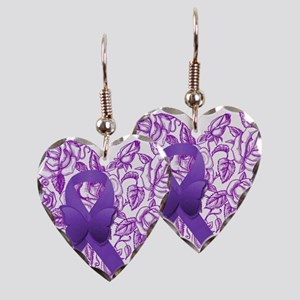 Purple Awareness Ribbon with Roses Earring
