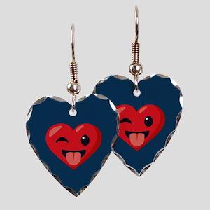 Heart Joking Emoji Earring Heart Charm
