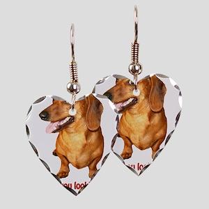 Looking at My Wiener Dachshun Earring Heart Charm