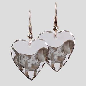 Speckled Dachshund Dog Earring Heart Charm