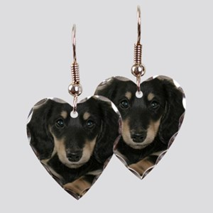 Long Haired Puppy Earring Heart Charm