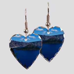 Crater Lake Wizard Island Earring Heart Charm