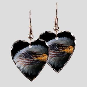 American Flag Eagle Earring Heart Charm