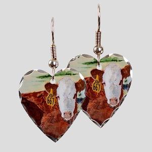 Hereford Calf Earring Heart Charm
