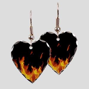 Flames Earring Heart Charm