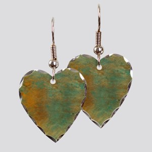 Abstract in Turquoise and Copp Earring Heart Charm