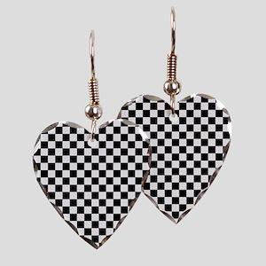 Black White Checkered Earring Heart Charm