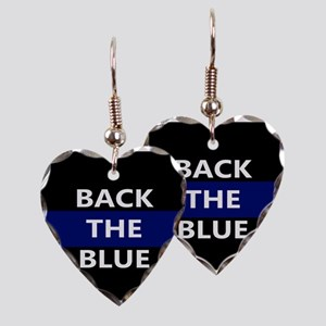 BACK THE BLUE Earring Heart Charm