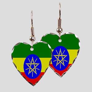 Flag of Ethiopia Earring Heart Charm