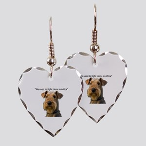 Airedales used to Fight Lions Earring Heart Charm